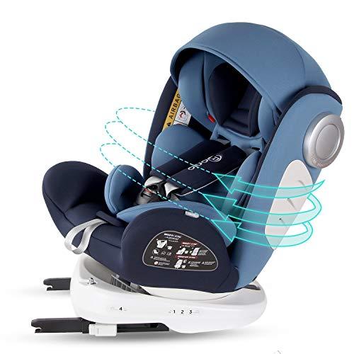 Bonio Silla de coche Giratoria 360º grupo 0+/1/2/3 (0-36 kg) ISOFIX (Azul)